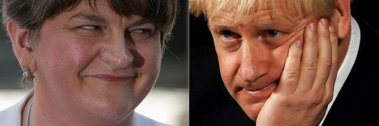 Arlene Foster, leider van de DUP en premier Boris Johnson Beeld AFP