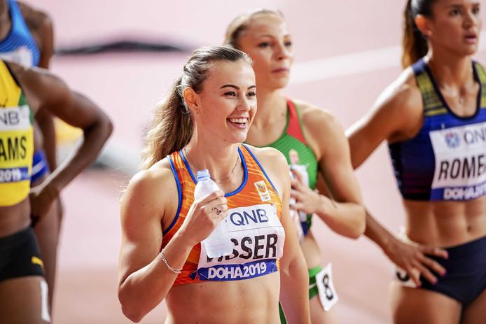 Archieffoto. Nadine Visser tijdens de halve finale 100 meter horden op de wereldkampioenschappen atletiek in Qatar.