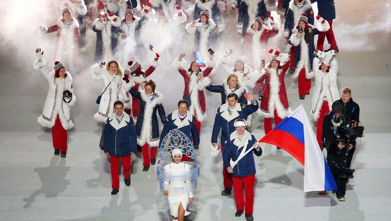 Russische sporters bij de openingsceremonie in Sotsji in 2014. Beeld epa