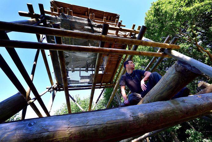 """Boswachter Erik de Jonge heeft intern bij Brabants Landschap flink moeten praten om het herstel van de uitkijktoren op de Kraaijenberg mogelijk te maken. Hij is blij dat het gelukt is. ,,Want de Kraaijenberg zonder toren, dat kan niet."""""""