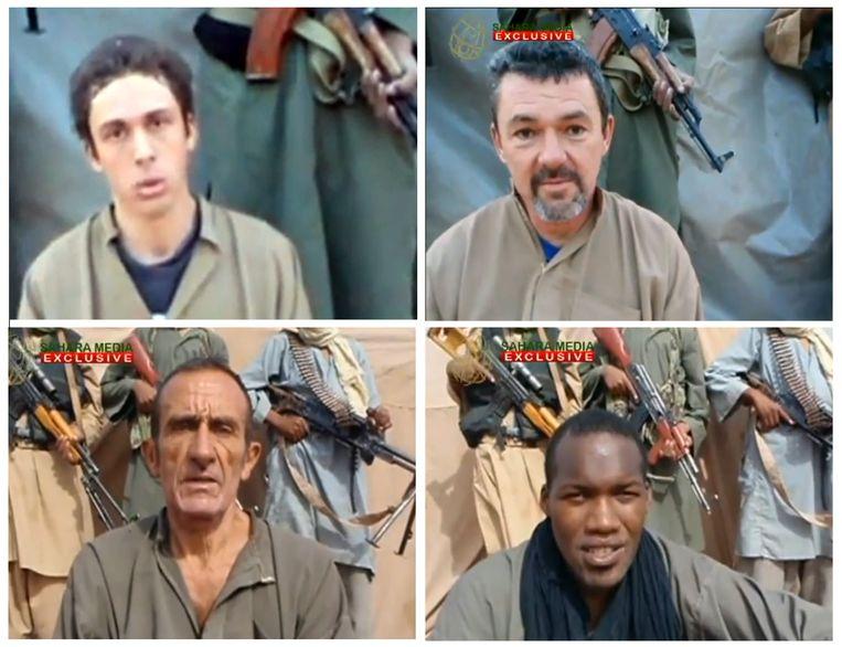 De vier gegijzelde Fransen. Beeld AFP