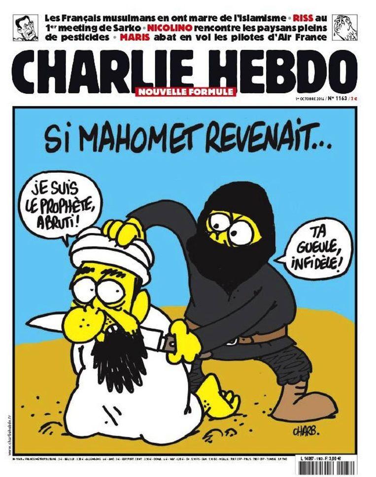 De cover van Charlie Hebdo op 1 oktober 2014, waarop te zien is hoe de profeet Mohammed wordt onthoofd. Beeld Charlie Hebdo