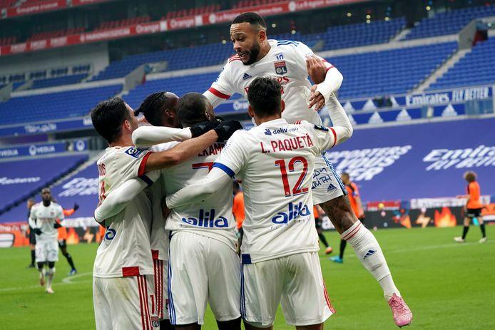 Vreugde bij de spelers van Olympique Lyon.