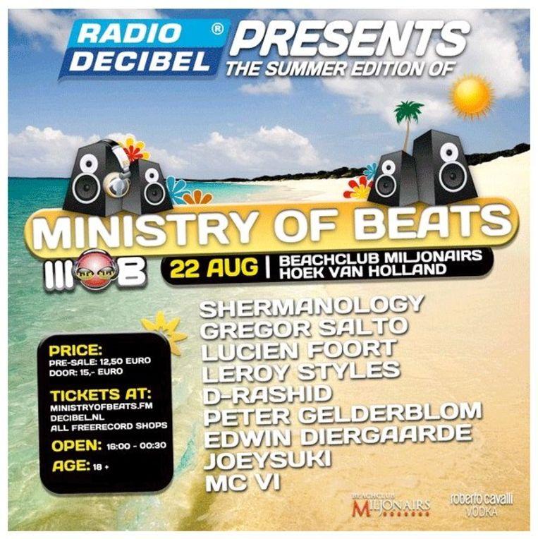Een flyer van Ministry of Beats. Ministry of Beats is een besloten feest in een strandtent met een heel ander karakter dan Sunset Grooves. Beeld