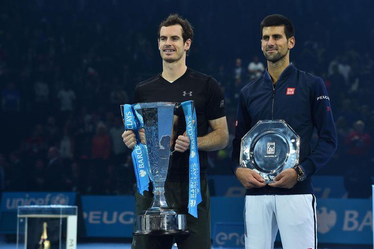 Andy Murray en Novak Djokovic na de ATP-finale Beeld afp