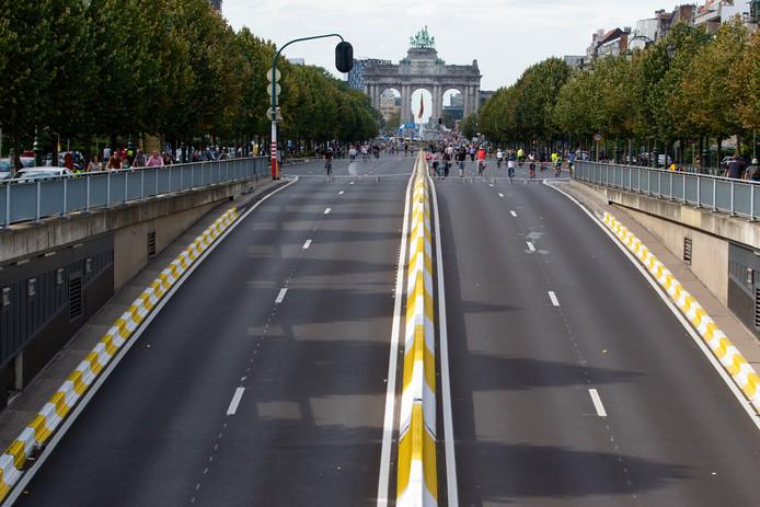 Lege straten in Brussel waar op 22 september een zogenoemde autovrije zondag werd gehouden.