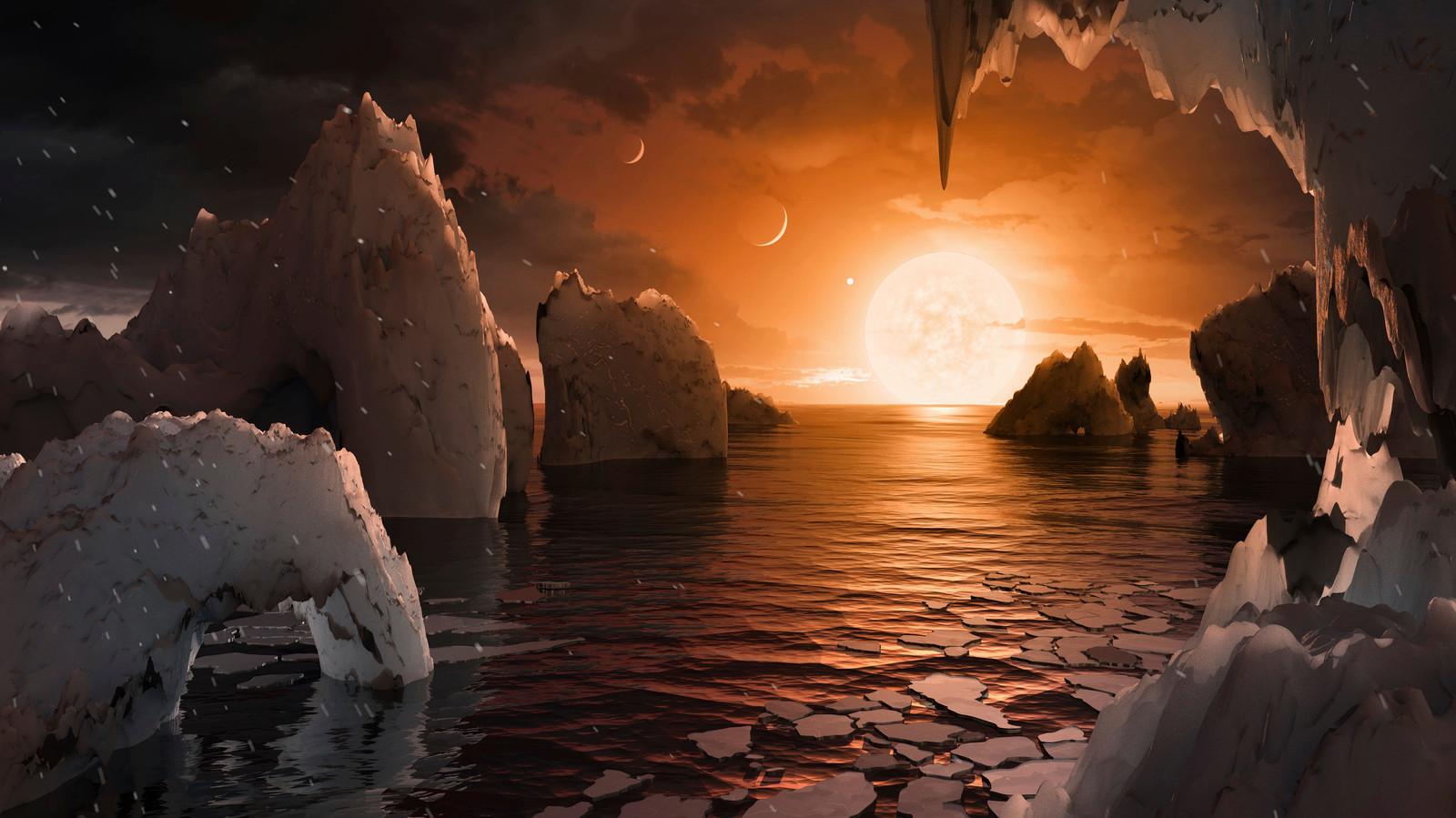 Impressie van exoplaneet Trappisst-1f, die zich op de juiste afstand van zijn ster bevindt om vloeibaar water te bevatten