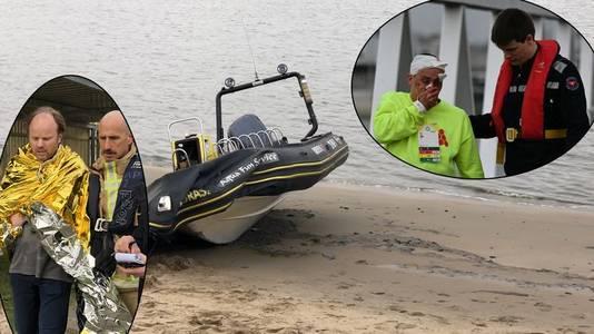 Een van de twee bootjes waarmee het ongeval gebeurde. Inzet: gewonden krijgen de eerste verzorging.
