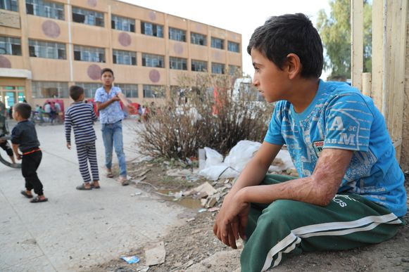 Gevluchte Koerdische kinderen uit de Syrische stad Ras al-Ain.