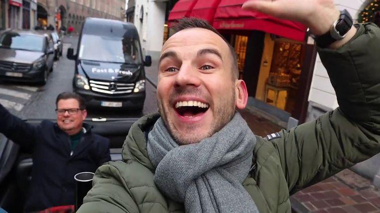 Julio Rosier van waterontharder.com en Kevin van 'Da's goed geregeld' zijn samen in Gent. Beeld RTL