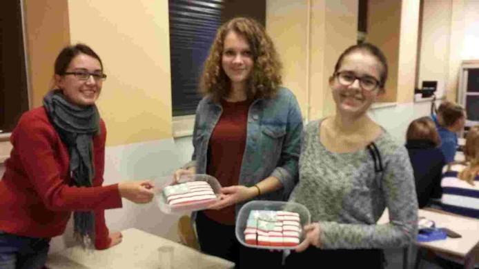 Muffins met de afbeelding van de Amerikaanse vlag.