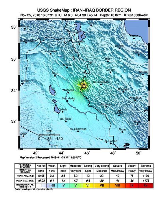 De regio waar de aardbeving plaatsvond nabij de grens met Irak.