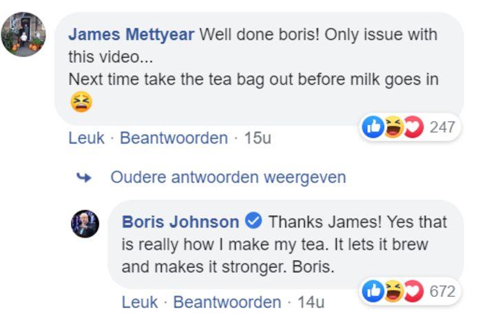 Boris Johnson reageerde op de kritiek.
