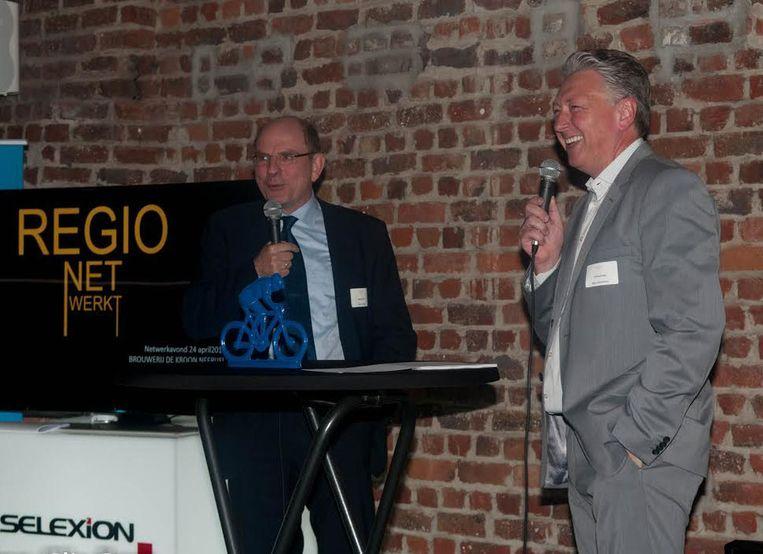 Moderator Danny Verstraeten (rechts) en minister Koen Geens tijdens de jongste Regio Net Werkt-bijeenkomst.