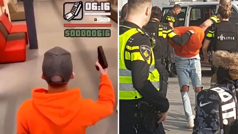 L'étudiant a imité le jeu GTA dans les couloirs de son école.