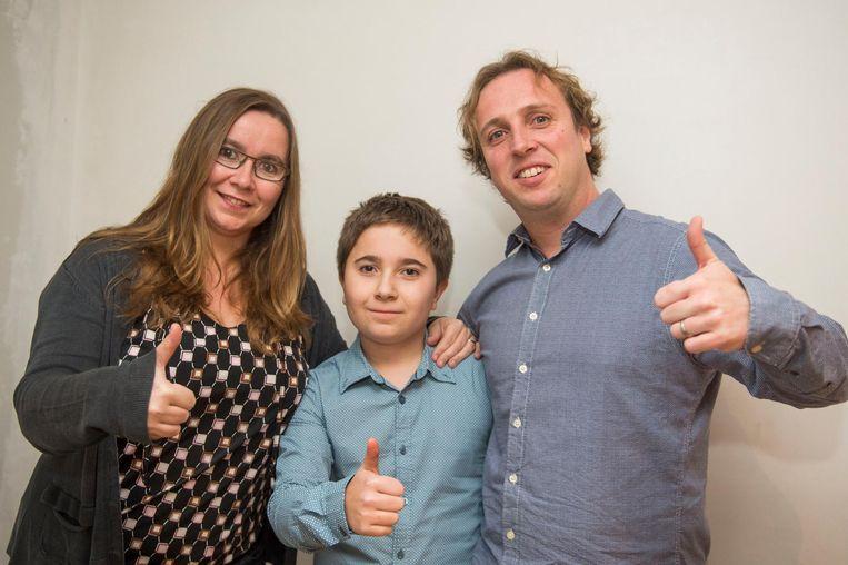 De familie Druyts, met zoon Zeno en mama en papa Kelly en Kurt.