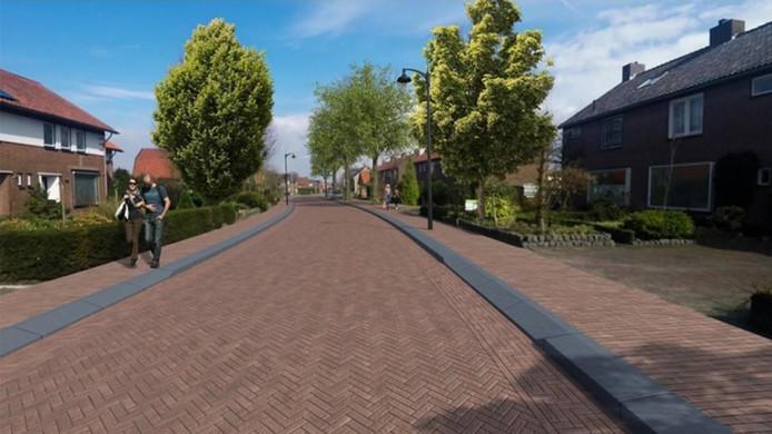 Een artist's impression van hoe de straten inHooglanderveen eruit moeten gaan zien.