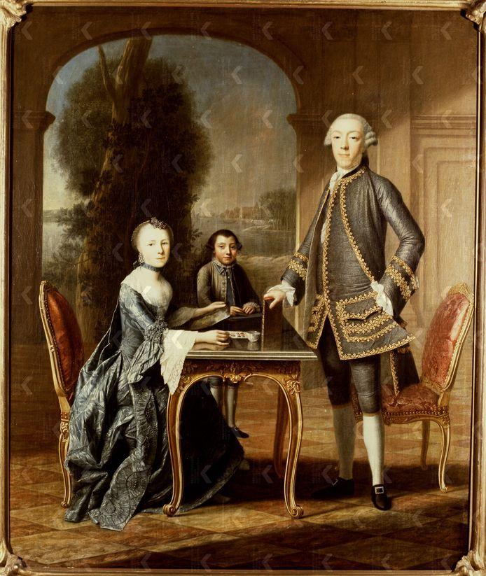Portret van Daniel Radermacher, zijn eerste vrouw Susanna Libertine Boogaert en zoon Samuel - door Jean Appelius 1759