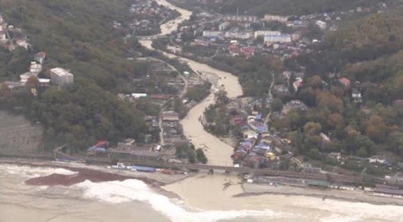 Overstroming in de regio van Krasnodar, Rusland.