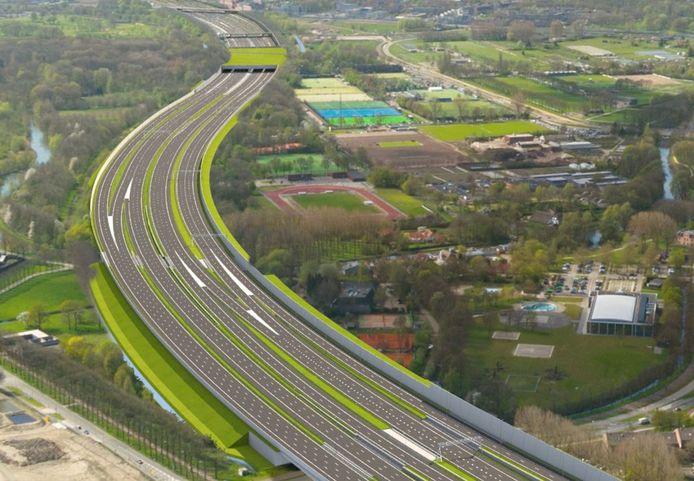Nieuwe situatie van de A27 bij Utrecht na verbreding en gedeeltelijke overkapping.