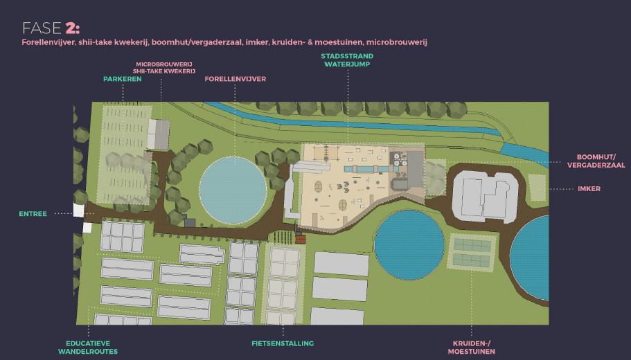 Fase 2 van het plan, de indeling van het terrein is niet definitief.
