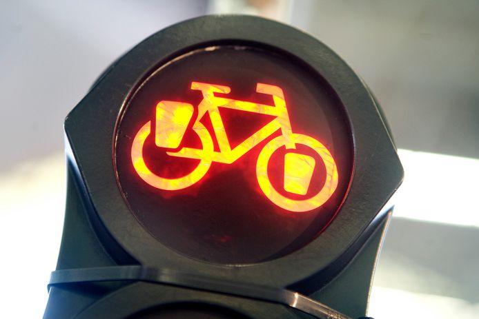 De fietser zegt zelf door oranje te zijn gereden, zijn rivaal zegt dat hij door rood reed, omdat andere fietsers wel stilstonden.