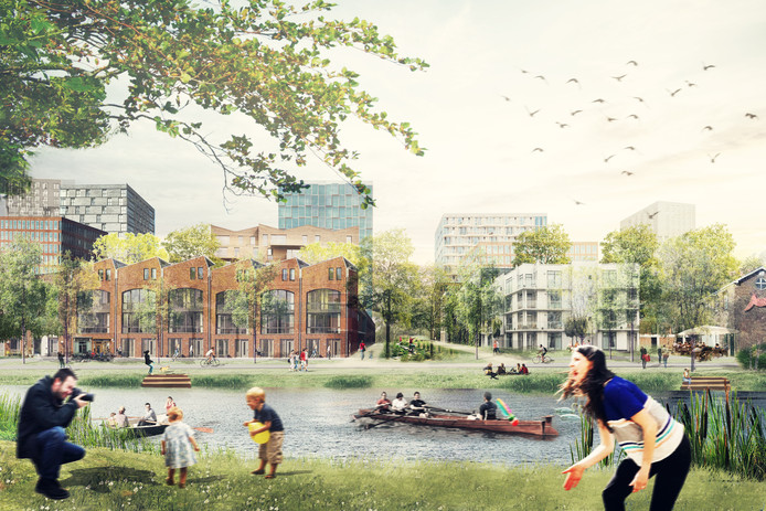Ontwerp van hoe de Merwedekanaalzone er in de toekomst uit moet gaan zien.