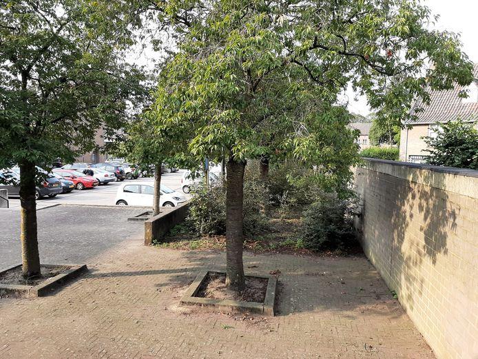 Op de achtergrond het Raadhuisplein in Huissen. Door de keermuur links weg te halen, wordt het plein vergroot tot aan de hoge, voormalige pastorietuin rechts.