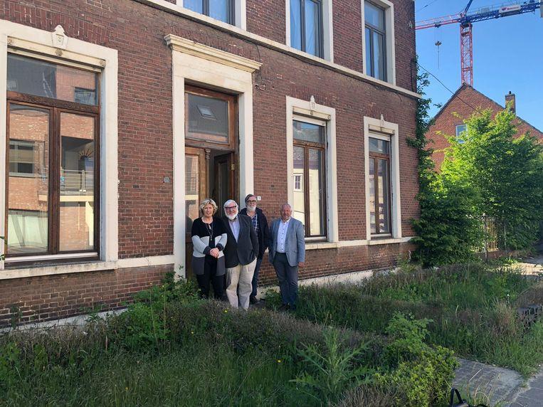 Burgemeester Tine Gielis, Ludo Helsen (voorzitter van Zonnige Kempen), Luc Stijnen en Raf Moons.
