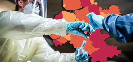 KAART | Oost-Nederland kleurt donkerrood: bekijk hier het aantal besmettingen in jouw gemeente