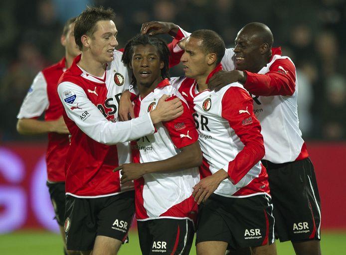 Vreugde bij Stefan de Vrij, Georginio Wijnaldum, Karim El Ahmadi en Bruno Martins Indi. Drie dagen na de afgang in Eindhoven wordt er met 3-0 gewonnen van VVV-Venlo.