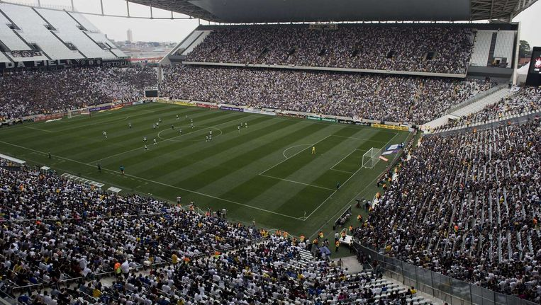 De testwedstrijd in het Corinthians-stadion in de Braziliaanse stad São Paulo.