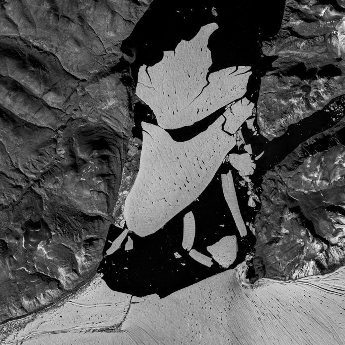 Sur les images satellite diffusées par le GEUS, on peut constater que de vastes surfaces de glace se sont désormais séparées du glacier 79 N, le plus grand glacier existant encore dans l'Arctique.