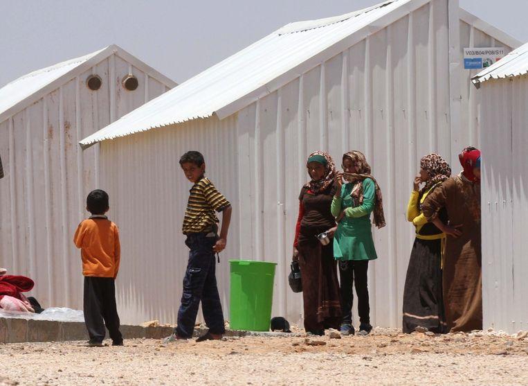 Syrische vluchtelingen in een vluchtelingenkamp in Jordanië. Beeld epa