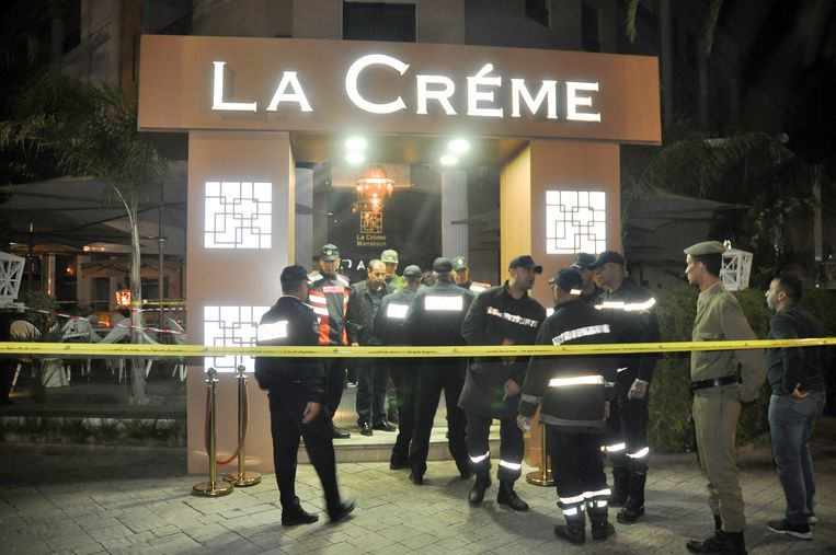 Plaats delict bij café La Crème,  2 november 2017.  Beeld Hollandse Hoogte / AFP
