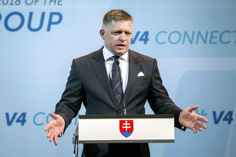 De Slowaakse premier Robert Fico tijdens een persconferentie eerder deze maand.  Beeld AP