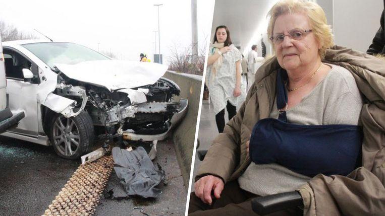 Op de E17 gebeurde een slippartij met drie wagens. Rechts: Nicole viel toen ze van de tandarts kwam en brak haar schouder.
