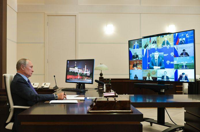 Het kantoor van Poetin op zijn landgoed Novo-Ogaryovo.