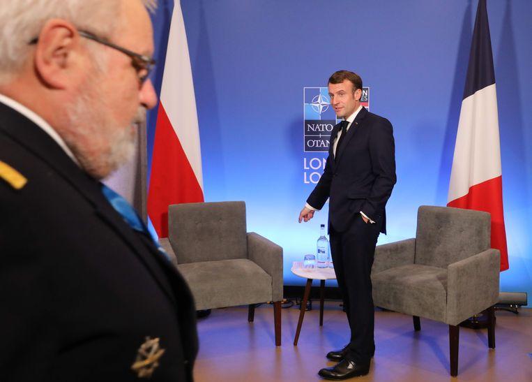 Emmanuel Macron tijdens de Navo-top in Londen.  Beeld AFP