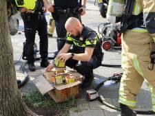 Brand in woning, doos vuurwerk aangetroffen