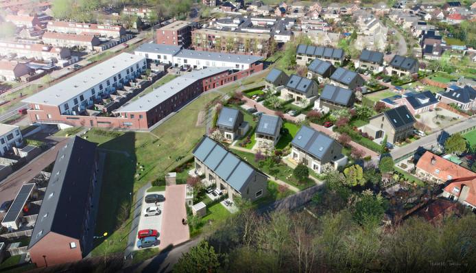 Impressie van Tuin van Woezik. De nieuwe huizen zijn die met de zonnepanelen. Onderin loopt de Zesweg.