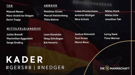 De selectie van 'Die Mannschaft' voor de oefenwedstrijd tegen Servië en het EK-kwalificatieduel met Oranje.