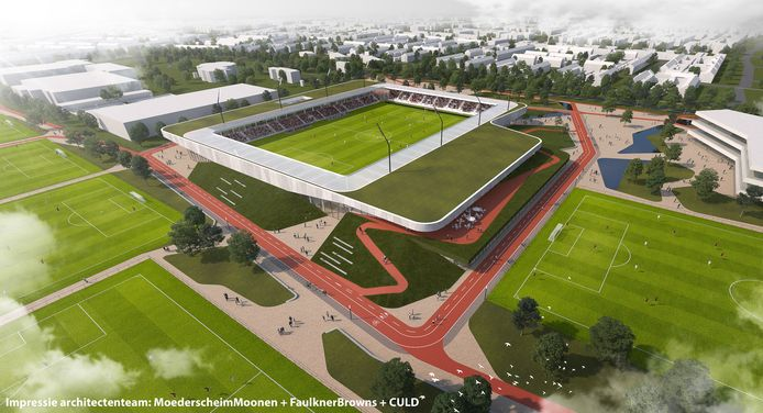 Een impressie van de sport- en beleefcampus op De Braak in Helmond. Door de plannen is een streep gegaan, nu Helmond Sport heeft afgehaakt.