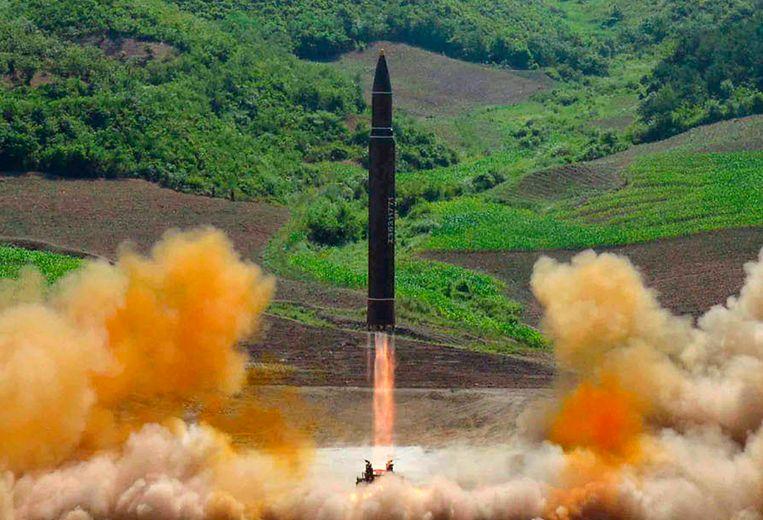 Proef met een intercontinentale raket in Noord-Korea, 2017. Beeld AP