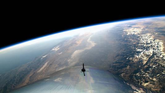 Het uitzicht vanuit de cockpit van de VSS Unity