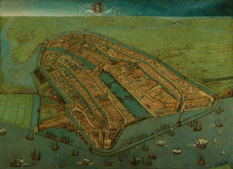 Gezicht op Amsterdam in vogelvlucht, 1538, Cornelis Anthonisz. Beeld Amsterdam Museum
