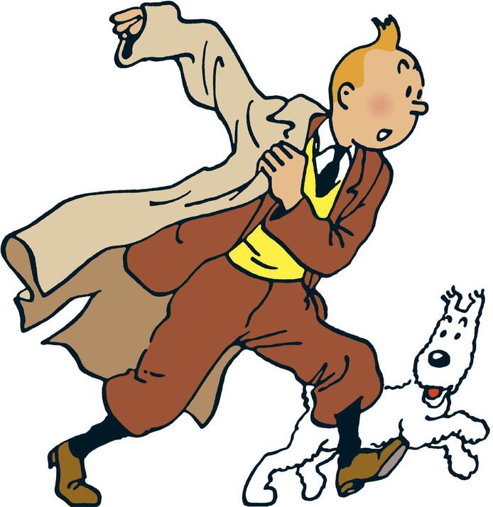 Archiefplaatje van Kuifje met zijn hondje Bobbie.