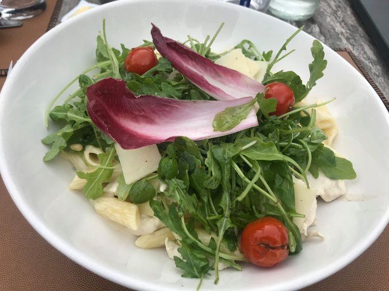 Pasta met gorgonzola en kip