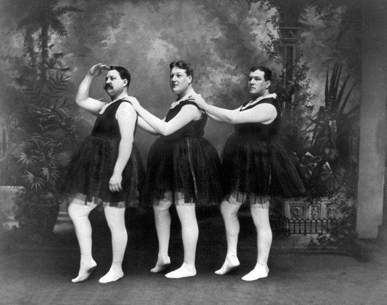 Antieke clownerie, circa 1900.  Beeld Getty Images