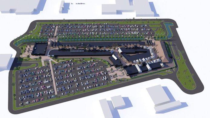 De toekomstige outlet in Zevenaar krijgt een aangrenzend parkeerterrein met ongeveer 2.300 plekken.